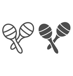 maracas line and glyph icon music and mexican vector image