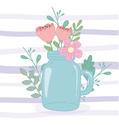 Mason jar with delicate flowers decoration stripes vector