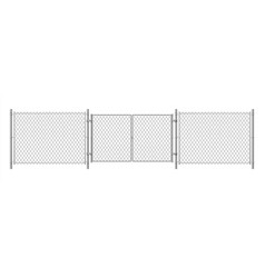 Metal wire fence realistic steel chain fence vector