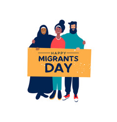 Migrants day card of diverse friends holding sign vector