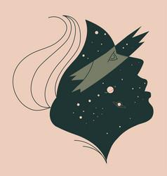 Minimalist woman portrait with stars cosmos galaxy vector