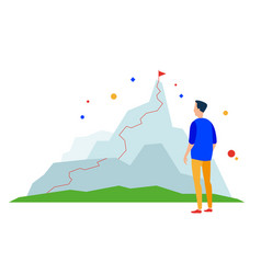 mountain peak business success path vector image