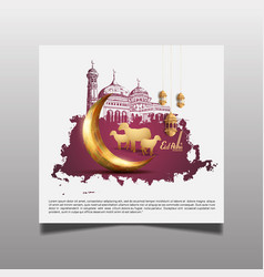Muslim celebration with mosque sheep silhouette vector