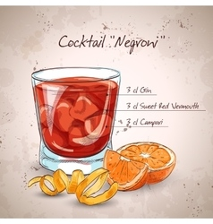 Negroni alcoholic cocktail vector