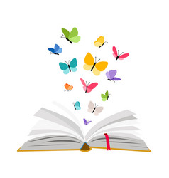 Open book with butterflies vector