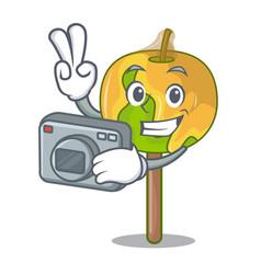 Photographer candy apple mascot cartoon vector