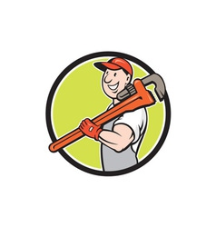 Plumber Smiling Holding Monkey Wrench Circle vector image