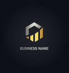 Polygon business graph gold logo vector