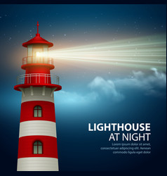realistic lighthouse in night sky background vector image