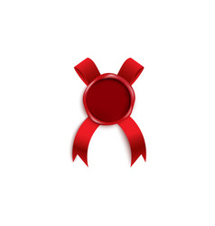 Red wax candle seal stamp with ribbon 3d realistic vector