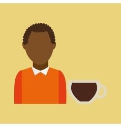 Retro maker coffee brown woman cartoon vector