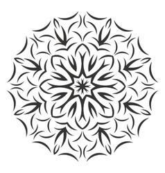 Round black flower pattern on white background vector