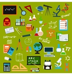 School supplies and education flat icon set vector image