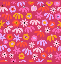 seamless pattern abstract flowers pink red vector image