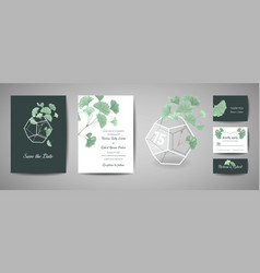 set of botanical retro wedding invitation card vector image