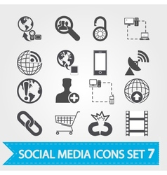Social media icons set 7 vector
