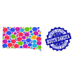 Social network map of south dakota state with vector