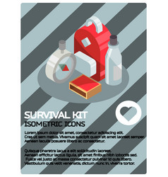 survival kit color isometric poster vector image