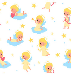sweet angels seamless pattern babies with wings vector image