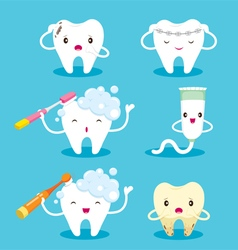 Tooth With Brush And Toothpaste Character Set vector