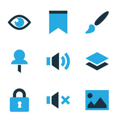 User icons colored set with layer eye sound and vector
