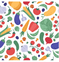 vegetables seamless pattern doodle vegetarians vector image