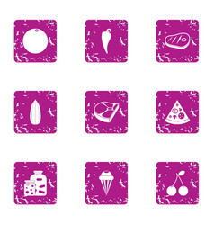 Viand icons set grunge style vector
