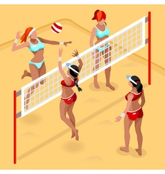 Volleyball Beach Field 2016 Summer Games 3D vector image