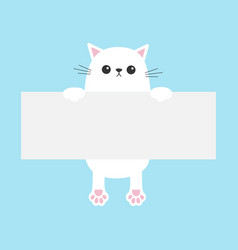 White funny cat hanging on paper board template vector