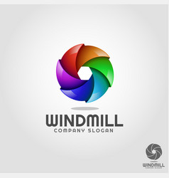 windmill - stylish 3d vortex circle logo template vector image