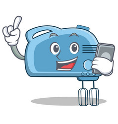 with phone mixer character cartoon style vector image