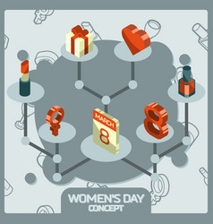 womens day color concept isometric icons vector image