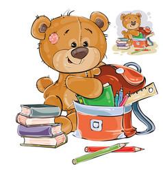 A brown teddy bear holds vector
