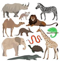 african animals set elephant giraffe buffalo vector image