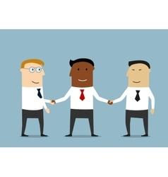 Handshake of multiethnic business partners vector