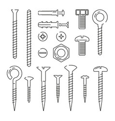 monoline pictures of bolts nuts nails and screws vector image vector image