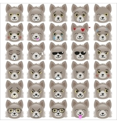 Set of funny pup emoticons vector image vector image