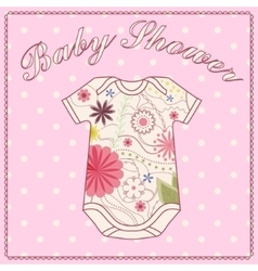 Baby shower girl with bady clothing vector image vector image