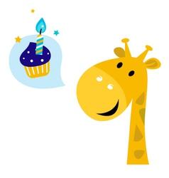 Cute cartoon party giraffe vector image vector image