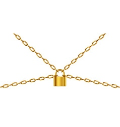 Golden chain and padlock vector image