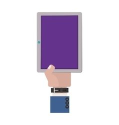 hand holding a touch tablet with watch vector image