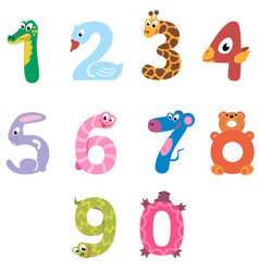 Numbers like domestic and wild animals vector image