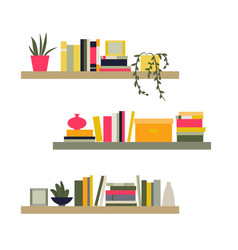 the collection of bookshelves vector image