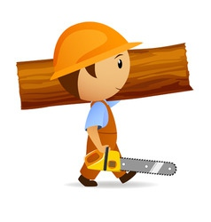 cartoon woodcutter with chainsaw and trunk vector image vector image