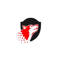 dog shield logo vector image vector image