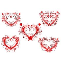 Elegant floral red valentine hearts set vector image