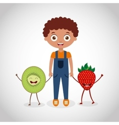 fresh fruit with kid comic character vector image vector image