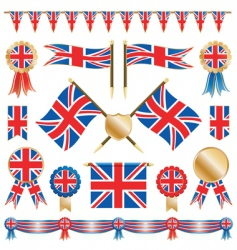 great britain flags and rosettes vector image
