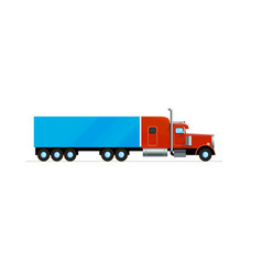red american truck trailer freight cargo flat vector image