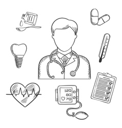 Hand drawn medical items and doctor vector image